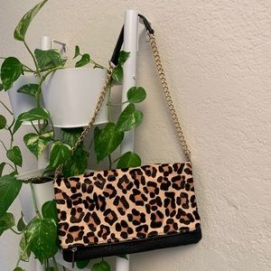EXPRESS LEOPARD PURSE WITH GOLD CHAIN STRAP